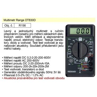 Multimetr Range DT830D